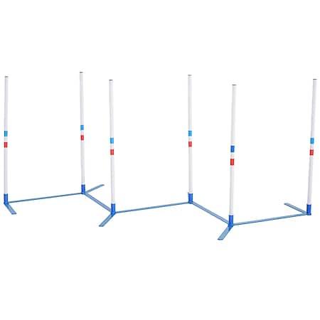 PawHut Hundetrainigsset inkl. Tasche weiß, blau 305 x 60 x 94 cm (LxBxH) | Agility-training Trainingsset Hindernislauf Hürdenlauf - Bild 1