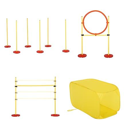 PawHut Agility Set für 4 verschiedene Trainingsvarianten gelb | Hundetraining Hindernislauf Slalomlauf Hürden - Bild 1