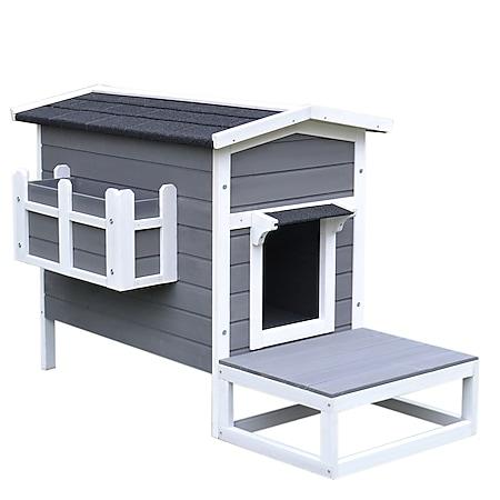 PawHut Katzenhaus mit Terrasse und Balkon grau, weiß 115 x 66,5 x 74,7 cm (LxBxH) | Katzenhütte Katzenhöhle Kleintierhaus für Hunde - Bild 1
