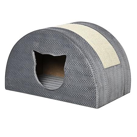PawHut Katzenhöhle mit Kratzbrett grau 48,5 x 30 x 30 cm (BxTxH) | Katzenbett Katzen Katzenkratzbaum Katzenhaus - Bild 1