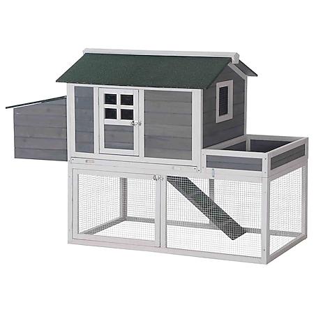 PawHut Hühnerstall mit kleinem Auslauf grau 160 x 80 x 110 cm(LxBxH)   Laufstall mit Legenest Hühnerhaus Kleintierstall - Bild 1