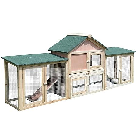 PawHut Kaninchenstall mit Auslaufbereich natur 210 x 45,5  x 84,5  cm   Nagerkäfig Kaninchenkäfig Kleintierkäfig mit Freilauf - Bild 1