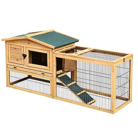 PawHut Kaninchenstall mit Freigehege 150 x 52,5 x 68 cm (LxBxH)   Hasenstall Hasenkäfig Kaninchenkäfig Kleintierstall - Bild 1