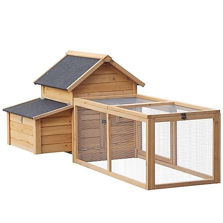 PawHut Hühnerstall mit Nistkasten natur 180 x 90,1 x 78,6 cm (LxBxH) | Laufstall Hühnergehege Auslaufstall Kükenstall - Bild 1