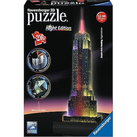 Ravensburger 12566 Puzzle 3D Empire State Building Night Edition 216 Teile - Bild 1