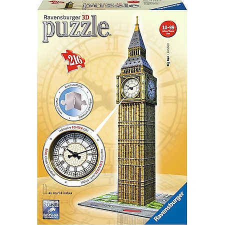 Ravensburger 12586 Puzzle 3D Big Ben mit Uhr 216 Teile - Bild 1