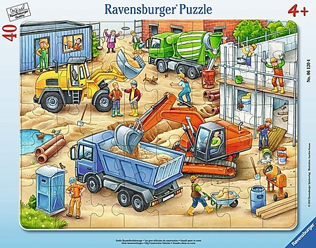Ravensburger 06120 Rahmenpuzzle Große Baustellenfahrze 40 Teile - Bild 1