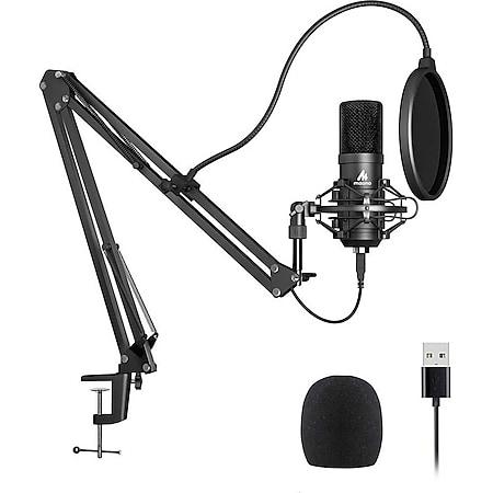 MAONO USB Kondensatormikrofon (Podcast Mikrofon Set , mit Halterung, Tischhalterung, Spinne, Pop-Schutz, für PC, PS4, Xbox, Streaming / Gaming / Musik produzieren / Singen) - Bild 1