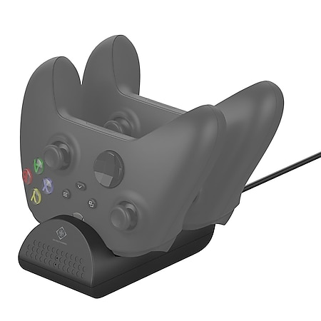 DELTACO GAMING Xbox Series X charging Station for dual Controllers Ladestation (Dual Kanal Ladegerät für Xbox Series, LED-Anzeige, 700 mAh, 5V / 2A, USB-A) - Bild 1