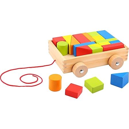 Tooky Toy Blockwagen zum Hinterherziehen mit 21 Holzblöcken in verschiedenen Formen und Farben - Bild 1