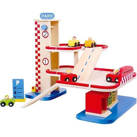 Tooky Toy mehrstöckige Spielzeug-Garage aus Holz - Bild 1