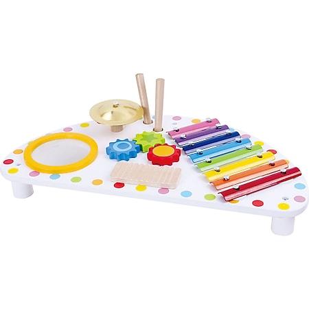 Tooky Toy Musiktisch aus Holz mit Ratsche, Trommel, Xylophon und Schelle auf einer Fläche inkl. 2 Holz-Schläger für die Instrumente - weißer Tisch mit bunten Instrumenten - ab 3 Jahren ca. 44 x 23 x 10 cm - Bild 1
