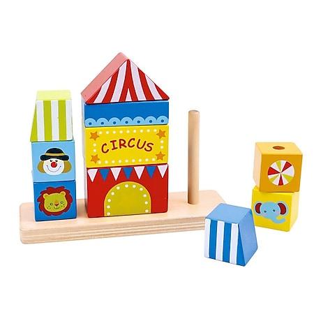 Tooky Toy Steckspiel aus Holz - Zirkus Turm - Bild 1