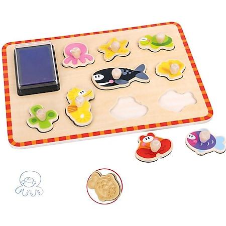 Tooky Toy Stempel Puzzle im Meeresbewohner Design - mit Stempelkissen und niedlichen Motiven - Bild 1