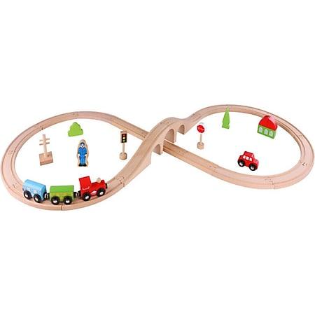 Tooky Toy Holzspielzeug 30 teiliges Holzeisenbahn-Set mit vielen Zubehörteilen - Bild 1