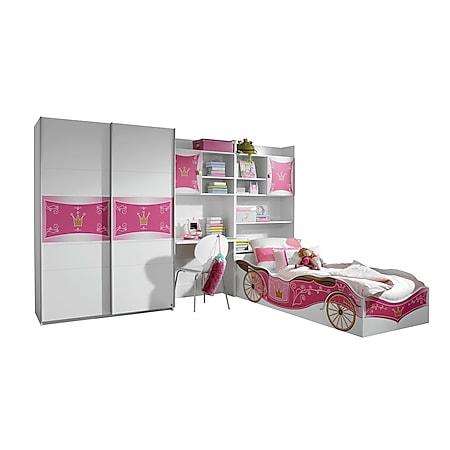 Kinderzimmer Zoe 4-teilig Weiß - Pink - Bild 1
