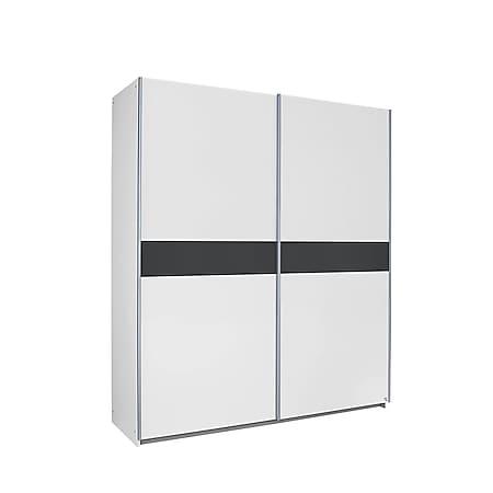 Schwebetürenschrank Jacob weiß - grau- metallic 2 Türen B 175 cm - Bild 1