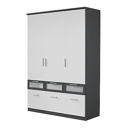 Kleiderschrank Ryan 3-trg + 6 Schubladen grau-metallic weiß B 136 cm - H 199 cm - T 56 cm - Bild 1