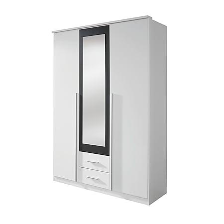 Kleiderschrank Basti mit Spiegeltür weiß - grau metallic 3 Türen B 136 cm H 199 cm - Bild 1