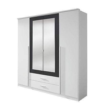 Kleiderschrank Basti weiß - grau 4 Türen B 181 cm - Bild 1