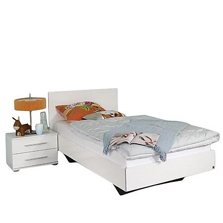 Jugendbett Miri inkl. 1 Nachtkommode Hochglanz weiß 120*200 cm - Bild 1