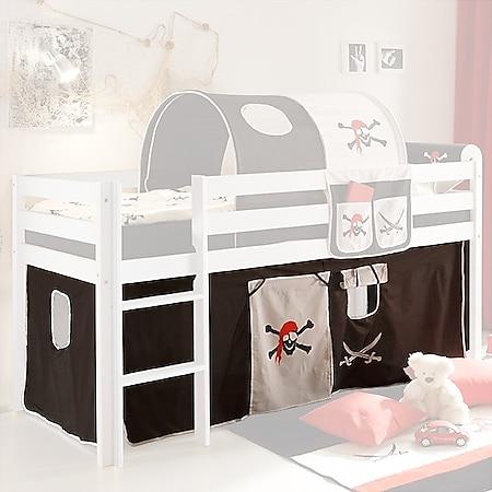 Vorhang Pirat 3-tlg 100% Baumwolle inkl. Befestigung ( 2x Klettband ) schwarz - weiß - Bild 1