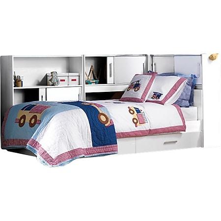 Funktionsbett Taylor 90*200 cm inkl. 3 Regale mit je 2 Fächern + Bettkästen 90*200 cm weiß - Bild 1