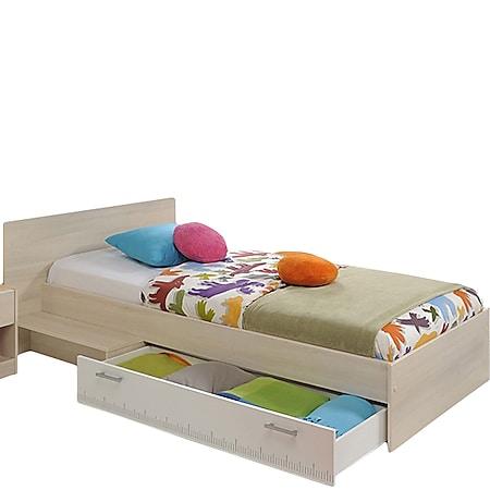 Jugendbett Charly Parisot inkl. Bettkasten + Ablagetisch Akazie beige - weiß 90*200 cm - Bild 1