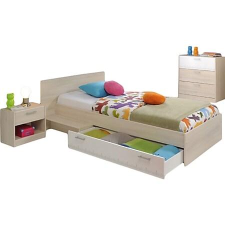 Kinderzimmer Charly Parisot 3-tlg Bett 90*200 cm + Kommode + Nachtkommode beige - weiß - Bild 1