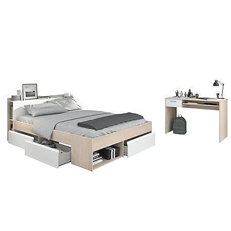 Jugendzimmer Most Parisot 2-tlg Bett + 3 Bettkästen + Kopfteil-Regal + Schreibtisch beige - weiß - Bild 1