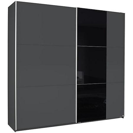 Schwebetürenschrank Nala 2-trg mit 1Teilglasfront grau - schwarz B 218 cm - H 210 cm - T 59 cm - Bild 1