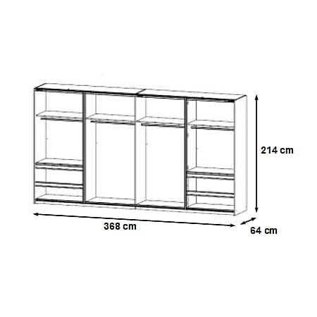 Dreh--Schwebetürenschrank Ben weiß - grau 6 Türen B 368 cm - Bild 1