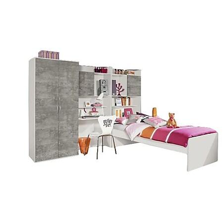 Jugendzimmer Naomi 1 4-teilig weiß - grau B 275 cm - Bild 1