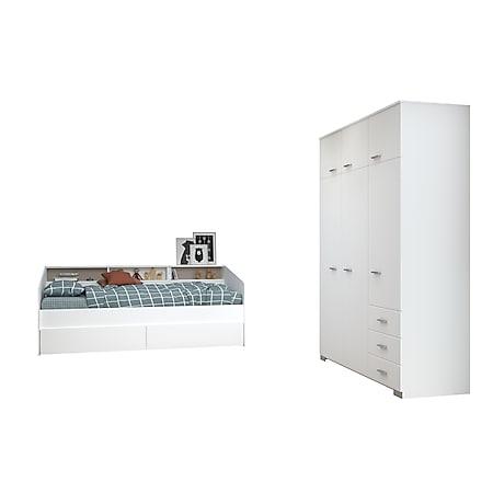 Jugendzimmer Sleep Parisot inkl. Bett + 2 Bettschubkästen + Kleiderschrank weiß - Bild 1