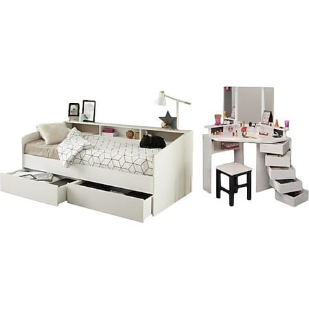 Jugendzimmer Sleep Parisot inkl. Bett + 2 Bettschubkästen + Eck - Schminktisch Hocker weiß - Bild 1