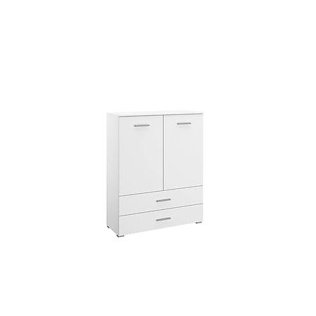 Kommode Hannah mit 2 Türen + 2 Schubladen mit Softclose-Funktion B 93 cm H 119 cm weiß - Bild 1