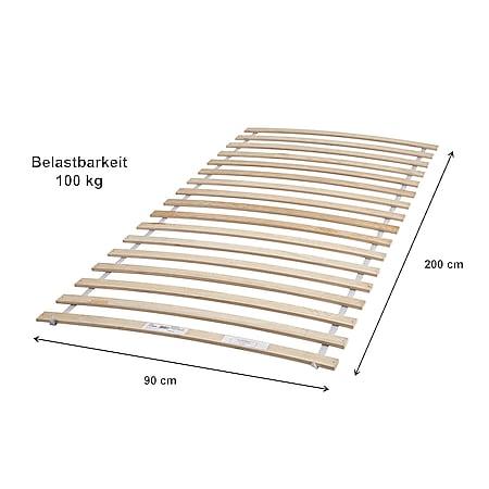 Rollrost Rolly 90*200 cm 17 flexible Feder-Holzleisten Birke massiv - Bild 1