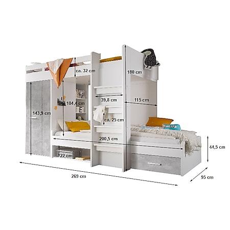 Etagenbett Nils inklusive Kleiderschrank + Schubkasten + Regale + Lattenrostplatte... Weiß / Beton - Bild 1