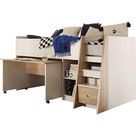 Hochbett Justin inklusive ausziehbaren Schreibtisch + Regal + Schubkasten + Lattenrostplatte Eiche - Bild 1