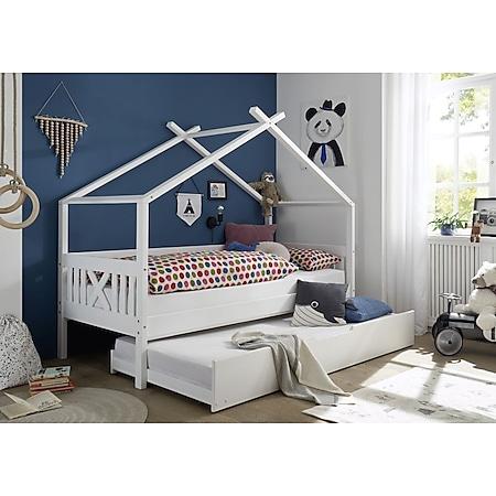 Hausbett Leonie mit Dach - Himmelvorrichtung 90*200 cm Kiefer massiv weiß... Bett mit Bettliege - Bild 1