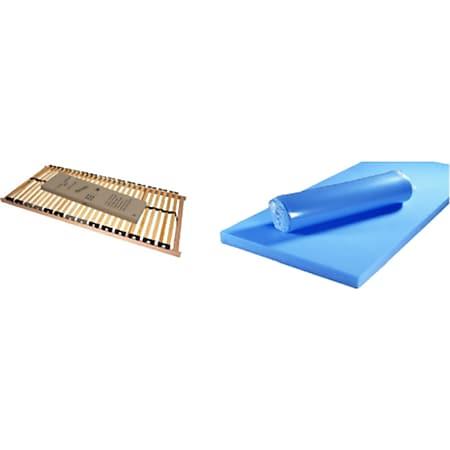 Funktionsbett Clara inkl. ausziehbarer Gästeliege auf 4 Rollen + 3 Schubladen 90*200 cm beige - weiß... Bett + Lattenrost + Matratze (blau) - Bild 1