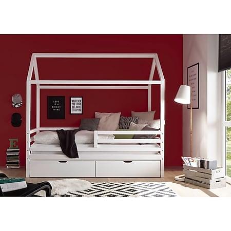 Hausbett Karlson mit Dach - Himmelvorrichtung 90*200 cm Kiefer massiv weiß... Bett mit 2 Bettkästen - Bild 1