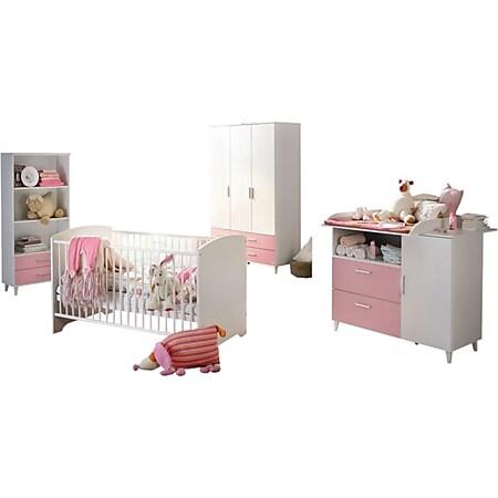 Babyzimmer Elisa 2 - 4-tlg Babybett Wickelkommode Kleiderschrank weiß - rosa... Bett + Wiko +  Kleiderschrank  + Beistellschrank - Bild 1