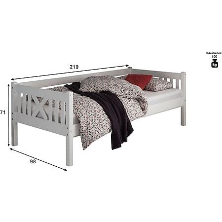 Pfostenbett Trevi 90*200 cm Kiefer massiv weiß... Bett, Matratze (blau) - Bild 1