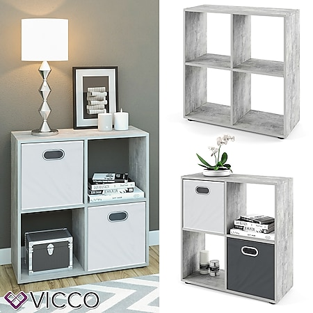 VICCO Raumteiler TETRA 4 Fächer Grau Beton - Standregal Bücherregal Büroregal - Bild 1