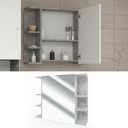 VICCO Badspiegel FYNN 80 x 64 cm Grau Beton - Spiegel Spiegelschrank Wandspiegel - Bild 1