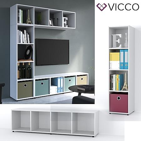 VICCO Raumteiler LUDUS 4 Fächer Weiß - Standregal Regal Bücherregal Büroregal - Bild 1