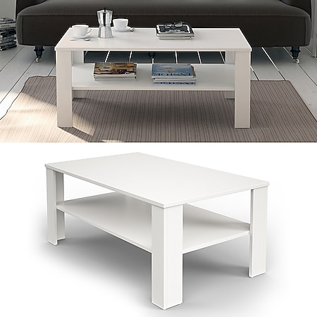 VICCO Couchtisch Weiß 100 x 60 cm - Wohnzimmertisch Beistelltisch Holztisch - Bild 1