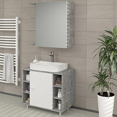 VICCO Badspiegel FYNN 62 x 64 cm Grau Beton - Spiegel Spiegelschrank Wandspiegel - Bild 1
