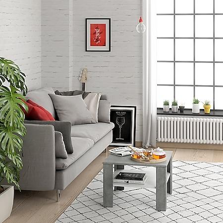VICCO Couchtisch HOMER Beton Weiß 60x60 cm  Wohnzimmer Sofatisch Kaffeetisch - Bild 1